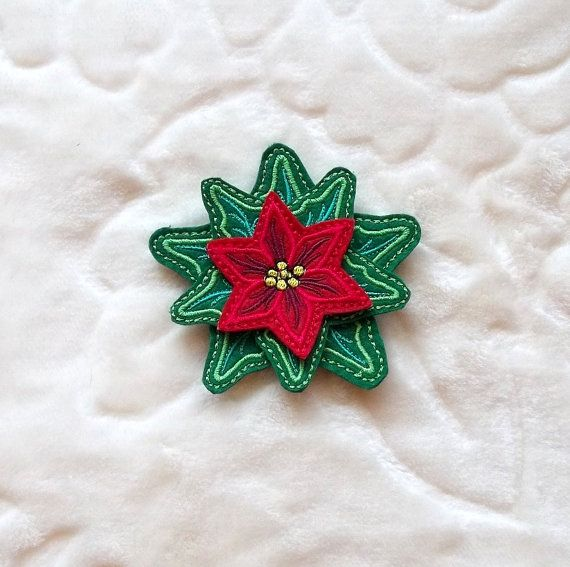 Christmas star felt- Brooch - machine embroidery designs./INSTANT DOWNLOAD