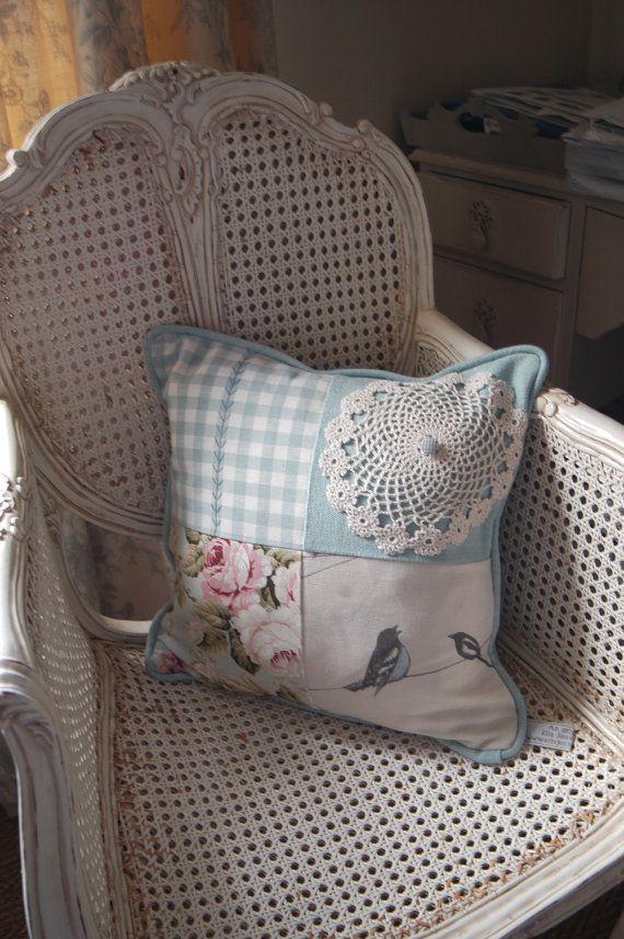 Handmade Patchwork Cushion Blue Vintage by VintageCushionShop, £20.00