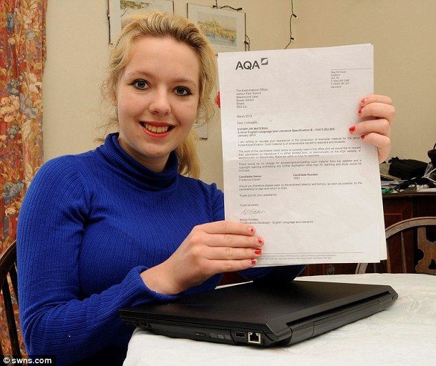 Exam joy: Frederica Drewer, 18, with a letter from the exam board after she scored 99.5 per cent on her A-Level English paper.  Bright teenager gains highest English A-level in the country despite predictions she would fail after doctors diagnosed her with dyspraxia.       Frederica Drewer, 18, had been predicted a D in her English A-level.       The exam board want to use the teenager's paper as model answers.
