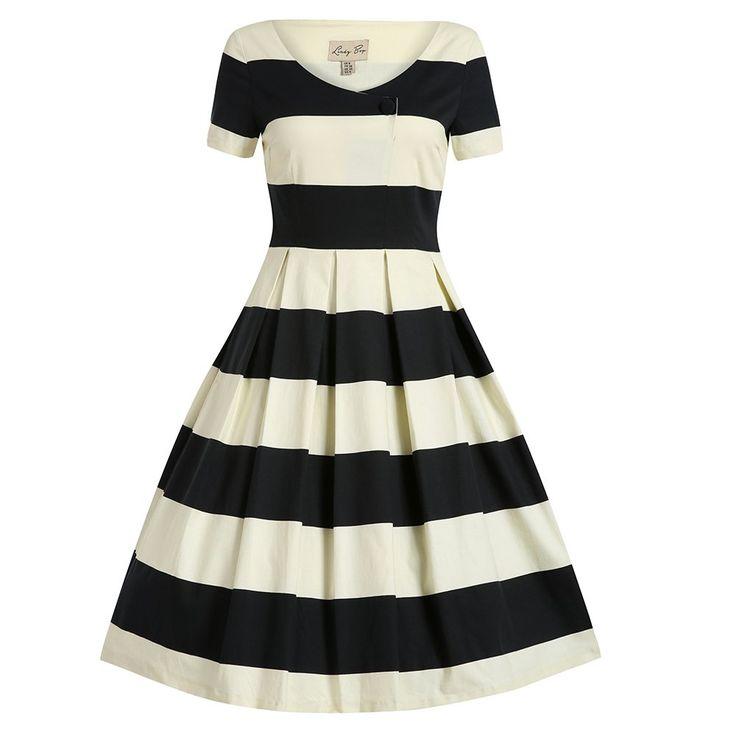 Dolce Cream Black Stripe Swing Dress | Vintage Dresses - Lindy Bop