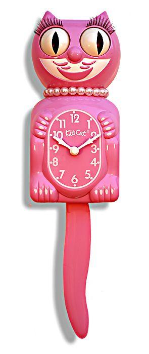 Pink cat clock