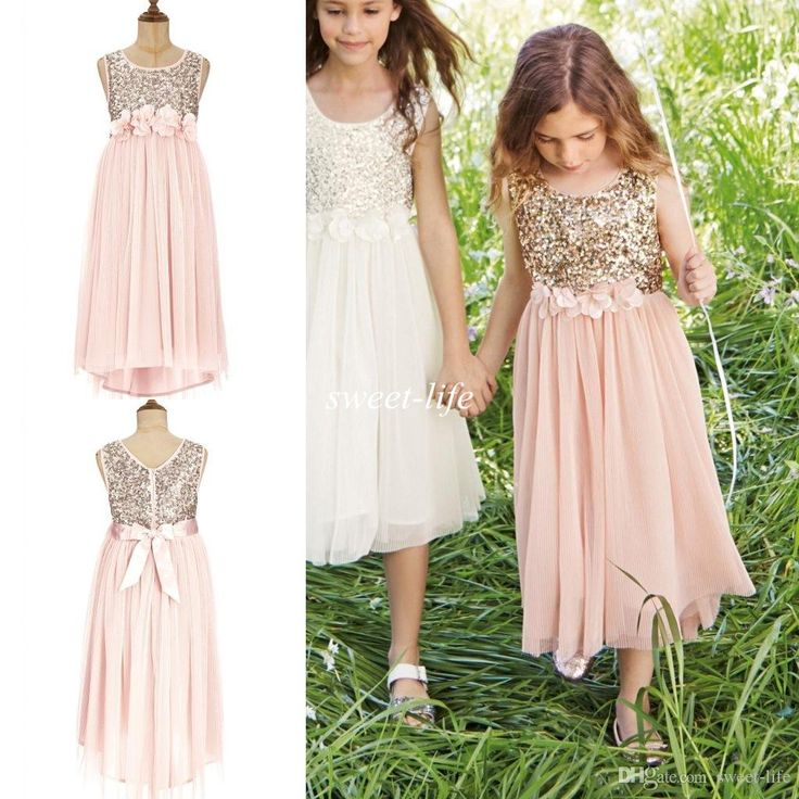 2015 Blush Flower Girls Dresses Gold Sequins Hand Made Flower Sash Tea Length Tulle Jewel A Line Kids Formal Dress Junior Bridesmaid Dress Online with $70.5/Piece on Sweet-life's Store | DHgate.com