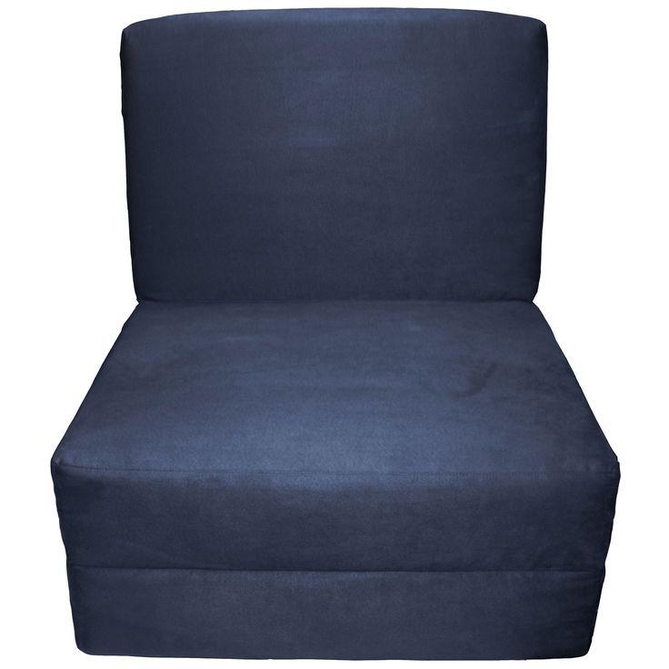 EpicFurnishings Nomad Adult Microfiber Suede Foam Sleeper Chair Bed (Suede Dark Blue Upholstery)