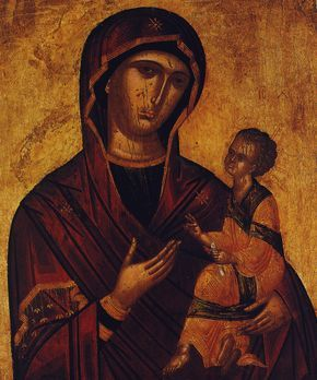 Παναγία Βρεφοκρατούσα, (15ος αιώνας). Κρητική Σχολή. Orthodox icon of Panagia Vrefokratousa (i.e. holding baby Jesus Christ) (15th century). Cretan school of hagiography.