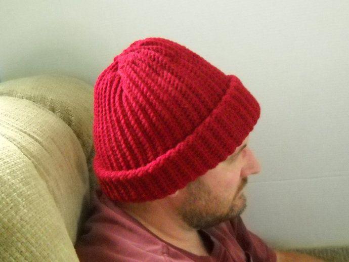 Mens Winter Hat Burgundy Dark Red Cap Beanie Size XL Crochet Extra Warm Outdoors Cold Weather by TheCraftyShack, $40.00 USD