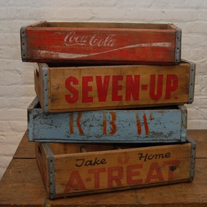Vintage Soda Crate Set of Four now featured on Fab. Great for end of couch to hold magazines, etc.