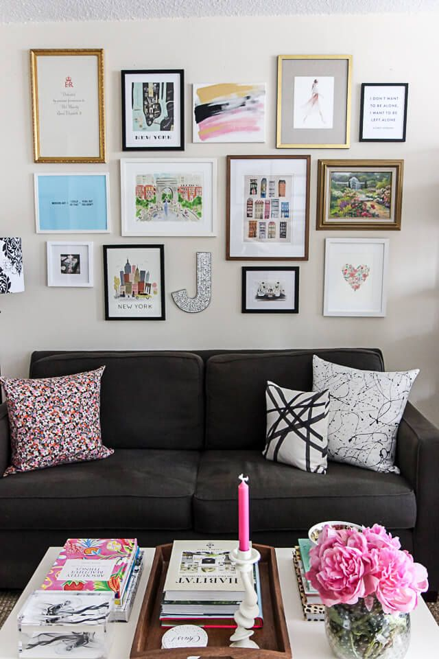 Gallery Wall, Small Space Studio Apartment Decorating | York Avenue Blog