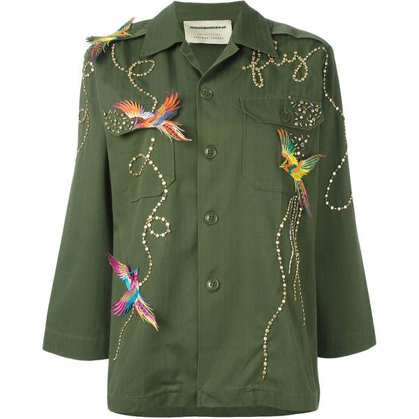 Night Market Birds military jacket (€385) ❤ liked on Polyvore featuring outerwear, jackets, green, army jacket, army green jackets, field jacket, green field jacket and military jackets
