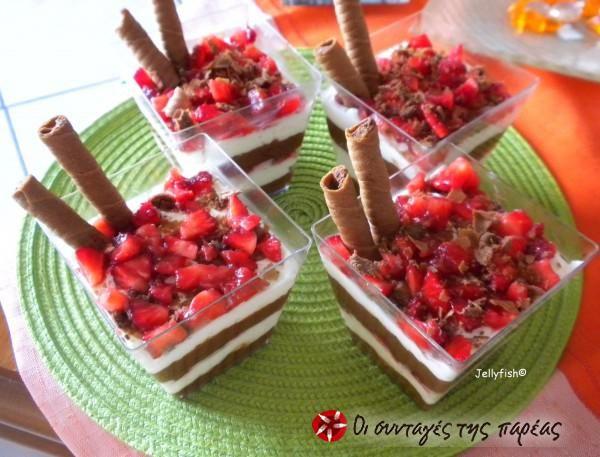 Δροσερό γλυκό με σοκολάτα και φράουλες #sintagespareas
