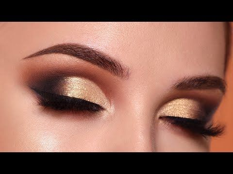 Glam Gold Smokey Eye Makeup Tutorial | Morphe 35O2 Palette http://makeup-project.ru/2017/11/11/glam-gold-smokey-eye-makeup-tutorial-morphe-35o2-palette/