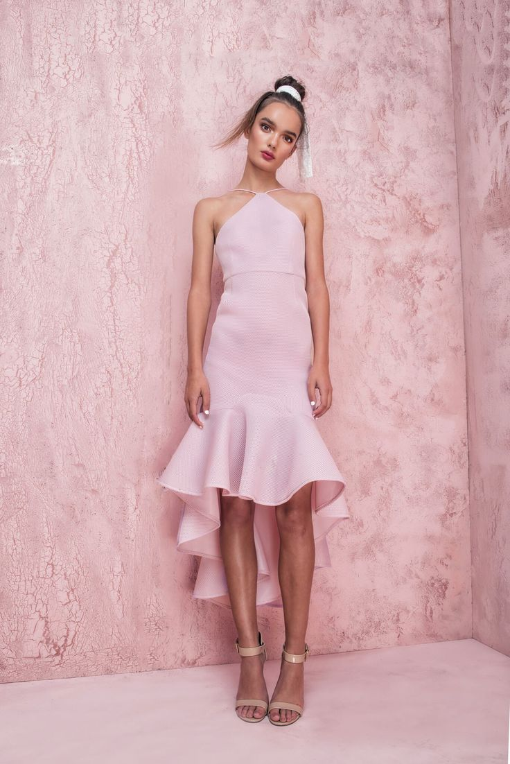 Casper and Pearl - Cici Fitted Frill Hem Mesh Midi Dress In Pink