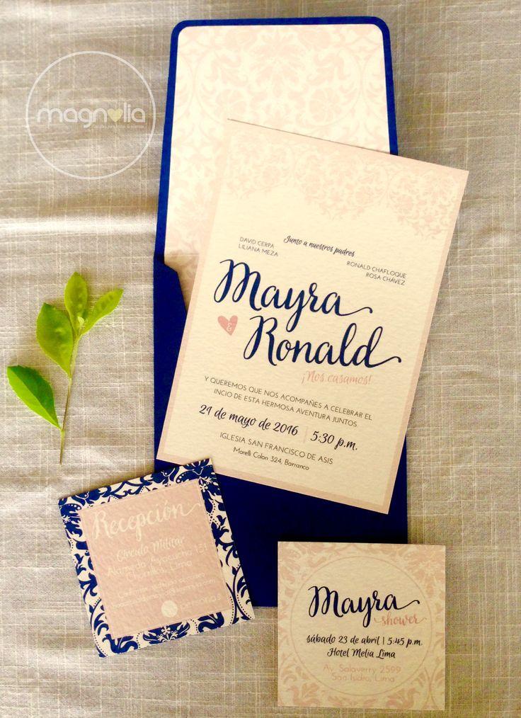 Invitacion de boda vintage y elegante #vintage #boda #wedding #rosequarze #azul #elegante #creativo