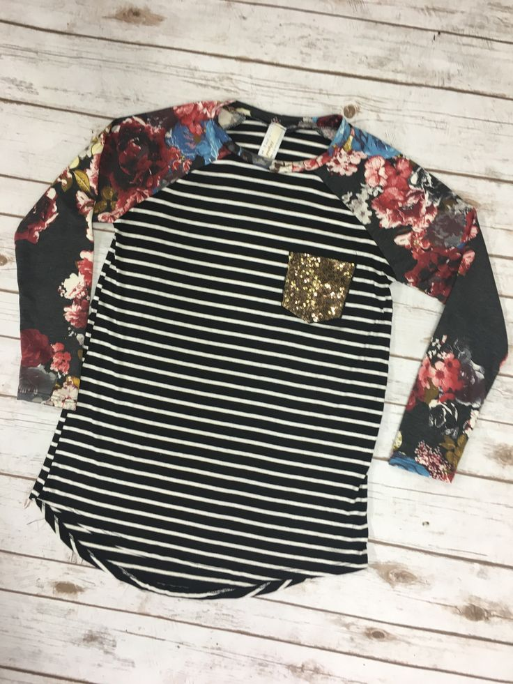 Floral and Striped High Low Shirt With Sequin Pocket