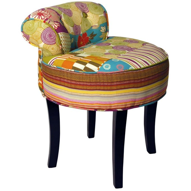 PATCHWORK - Shabby Chic Chair Stool / Wood Legs - Multi-coloured: Amazon.co.uk: Kitchen & Home