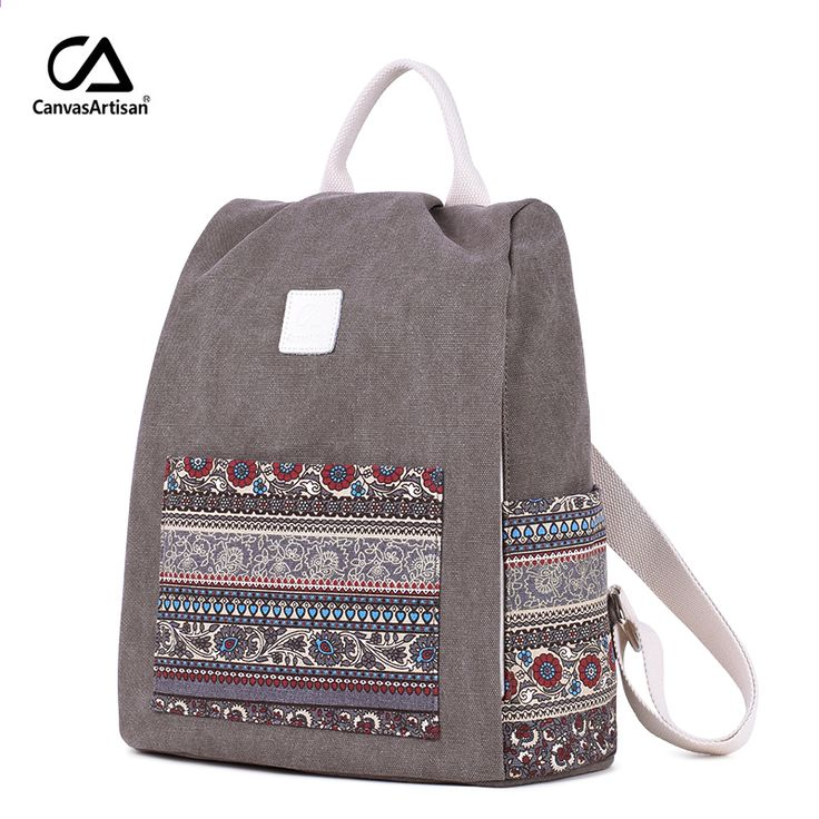 b83831733b1d Canvasartisan Women s Canvas Backpack Retro Style Floral School Bookbag  Travel Small Backpacks Female Casual Daypack Bags