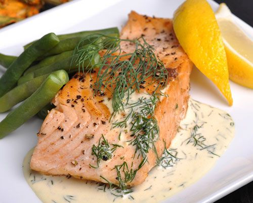 17 Day Diet Elegant Poached Salmon with Dill Sauce recipe