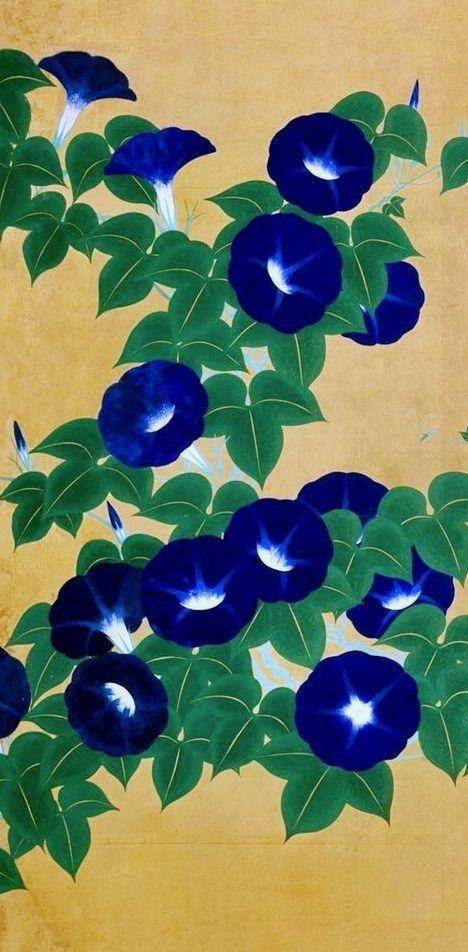 Detail. Morning Glories. Japanese folding screen. 鈴木其一 Suzuki Kiitsu. Famous Rinpa School painting. Nineteenth century.