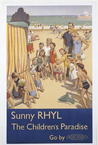 Colour poster showing a crowd of children on the beach, one with her parents, watching a Punch and Judy show. One little boy is holding a bucket and spade, another a fishing net, and two boys are peering inside the tent, 1952 revealing the puppeteers legs. In the background, people are riding donkeys and wading and swimming in the sea. A pier is also visible in the top-right corner.