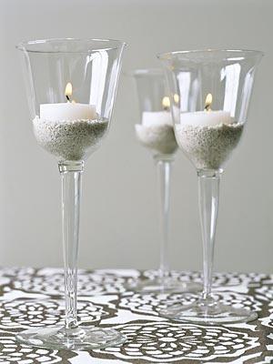 wine glasses as votive holders!