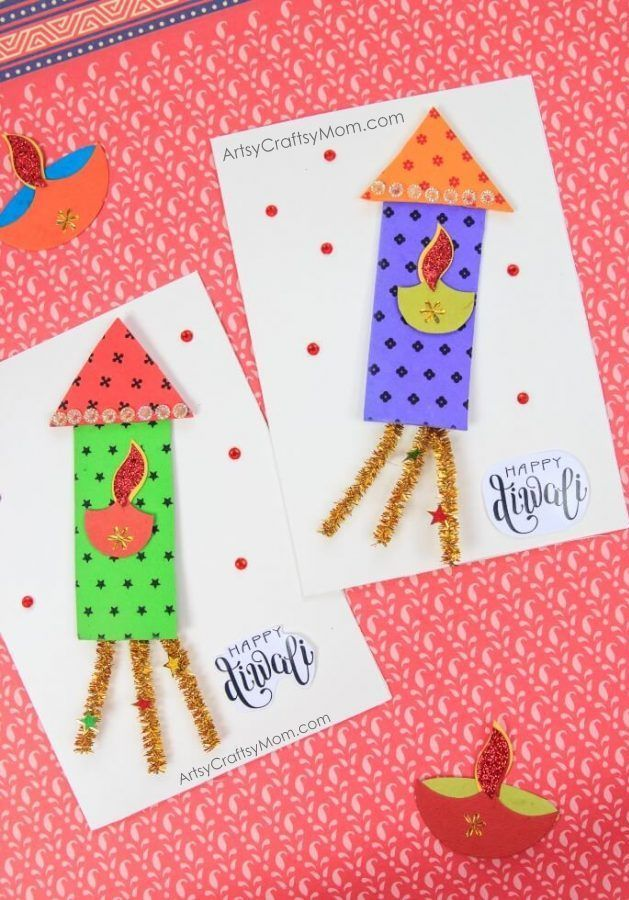 Firecracker Themed Diwali Greeting Card For Kids Art N Craft Ideas