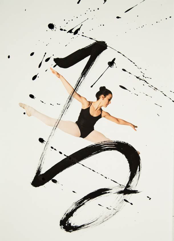"""Rurubu"" is a project created by photographer Haley Friesen and artist Nobuhiro Sato. From this collaboration was born a beautiful series of photographs combining dance and calligraphy. The subtle encounter between the movements of the bodies of dancers and powerful and energetic curves, breaks and splashes of ink."