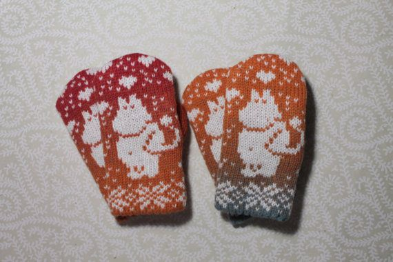Exclusive hand-made children mittens with moomin by LanaNere