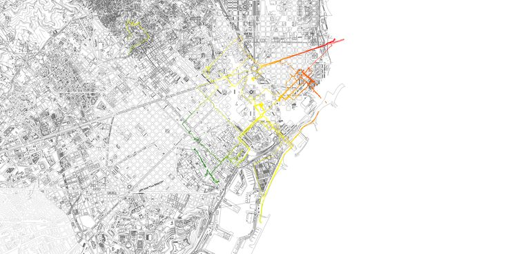 Tracking footsteps in Barcelona. Gps co-ordinates translated into vector.