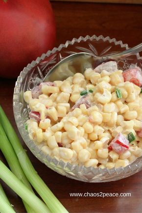 Cold corn salad is the perfect side dish for your easy, summer dinner. Corn, tomatoes, green onions, and mayonaise mixed together and chilled will complete any meal!