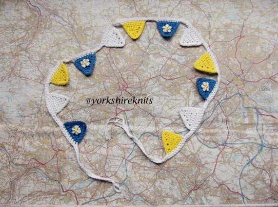 Handmade Crocheted Yorkshire Flag Pennant by HandKnittedYorkshire