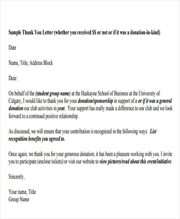 Found On Bing From Www Template Net Donation Thank You Letter