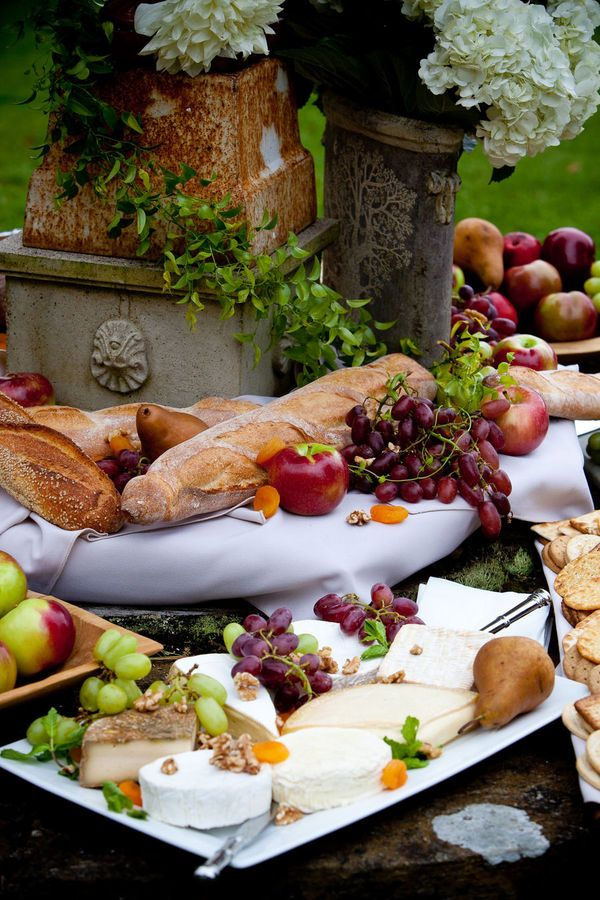 cheeses, fruits and bread