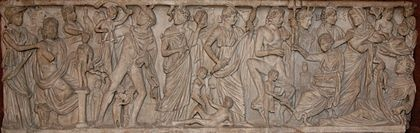 Prometheus creates man. Clotho and Lachesis besides Poseidon (with his trident), and presumably Atropos besides Artemis (with the moon crescent). Roman sarcophagus, Louvre.