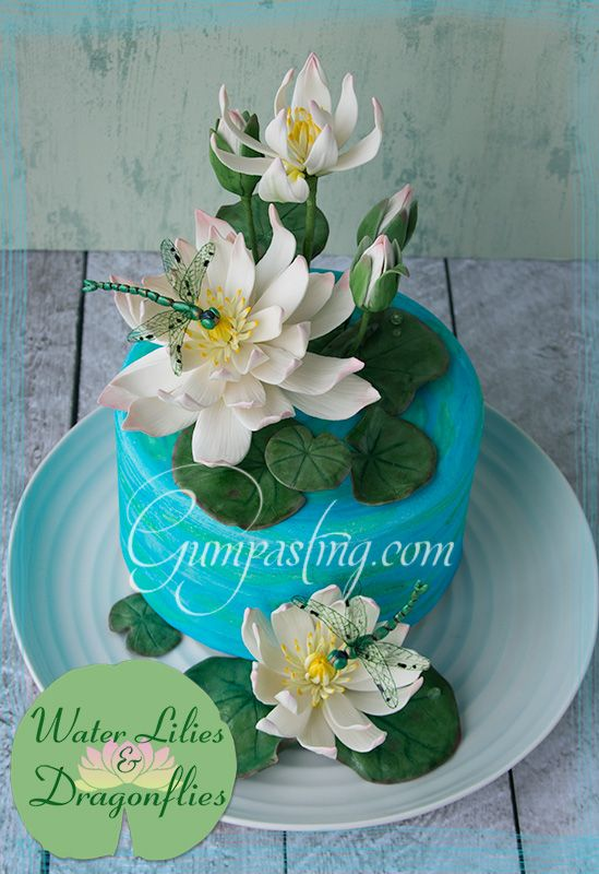 {Gumpaste Water Lilies and Dragonflies on a Fondant Pond Cake}
