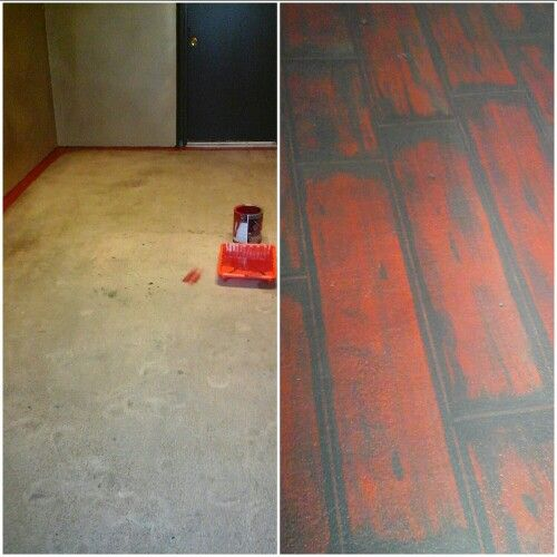 Concrete floor before and after painting antique for Flooring before cabinets