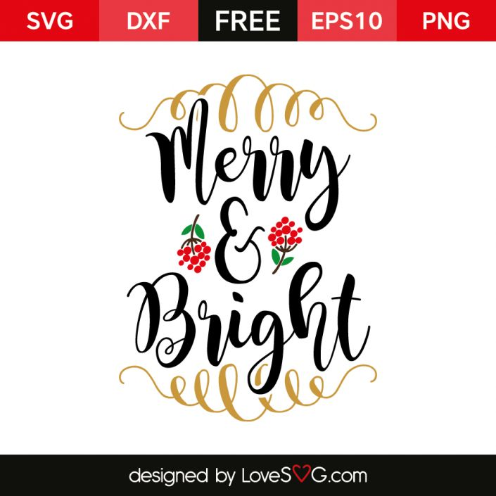 *** FREE SVG CUT FILE for Cricut, Silhouette and more ***  Merry & Bright