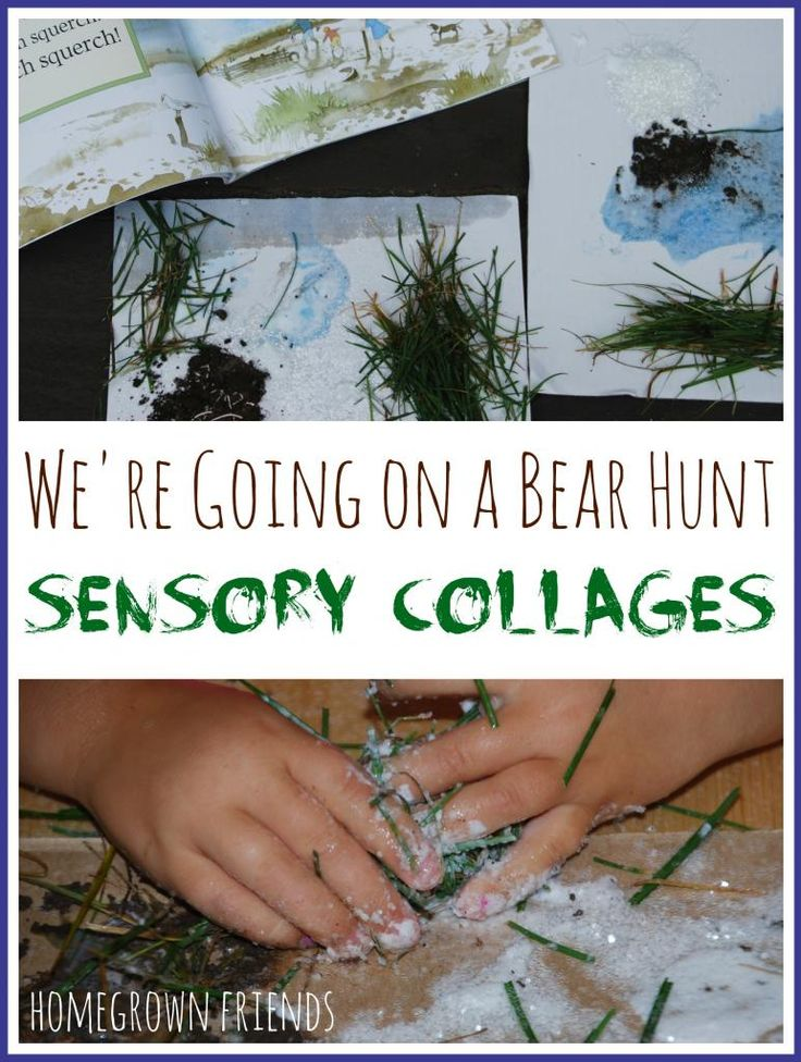 What a clever way to explore the book! Love these Bear Hunt Sensory Collages!