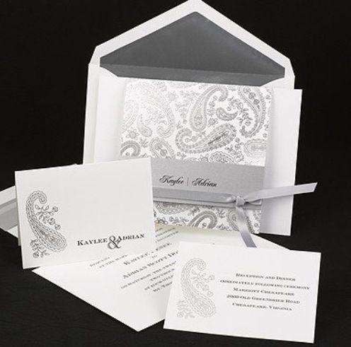 Silver paisley print invitation