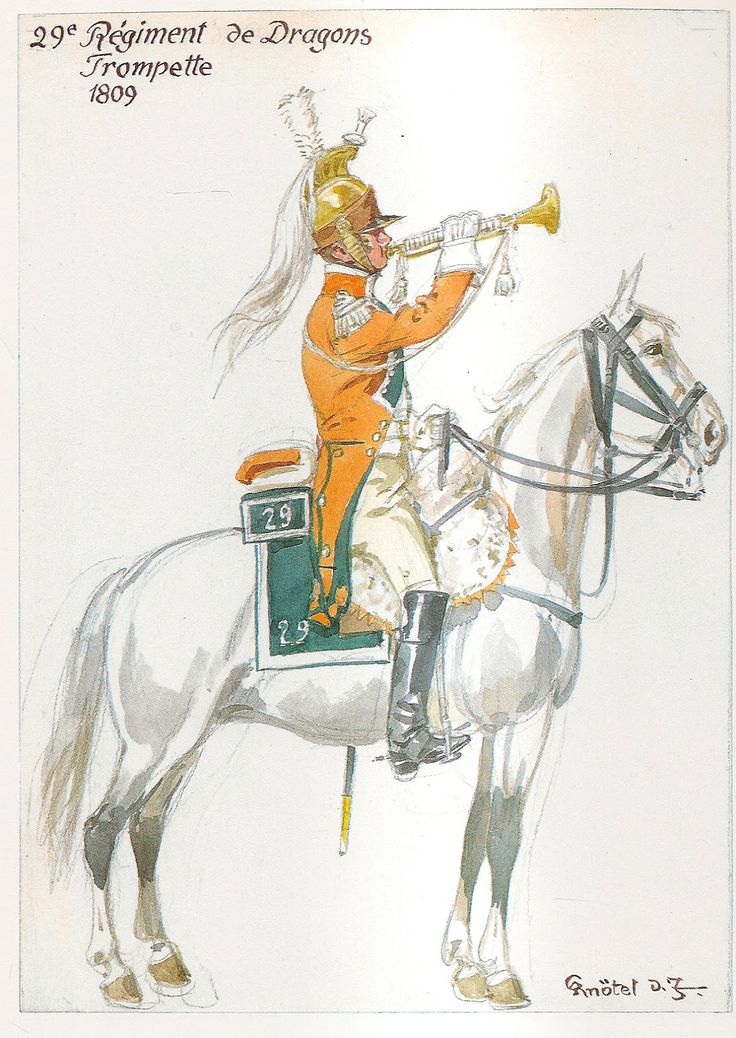 French; 29th Dragoons, Trumpeter, 1809 by H.Knotel