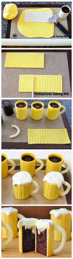 Beer Mug Cupcakes Recipe  #craftbeer #beer