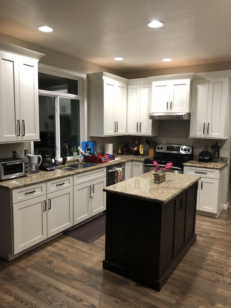 New kitchen! Dover white cabinets, cherry peppercorn ...
