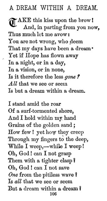 """A Dream Within A Dream"" — Edgar Allan Poe"