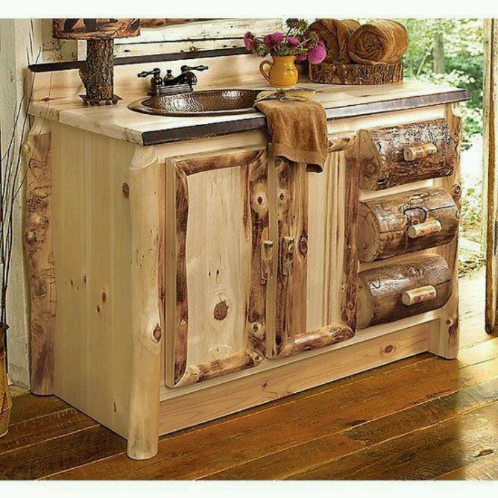 Rustic log cabin vanity sink house ideas pinterest for Log home bathroom ideas