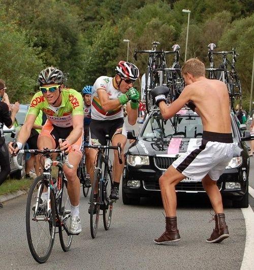 Tour of Britain 2012 | Stage 6  Matt Rowe (brother of Team Sky rider Luke Rowe) sparring with Gediminas Bagdonas on Caerphilly Mountain.