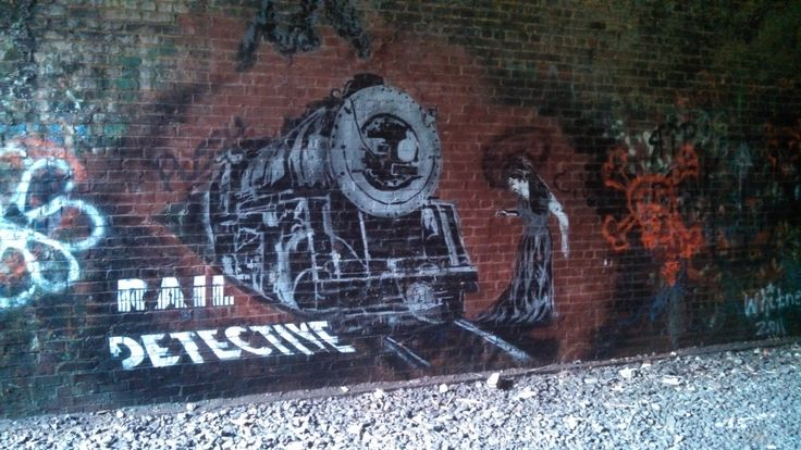 """Art by the """"Real Detective"""" a.k.a. """"Rail Detective"""" in the Moonville Tunnel  #streetart #graffiti"""