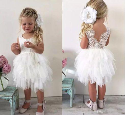 2017 Infant Toddler Flower Girls' Dresses For Wedding so Cute Lace Tutu Knee-length Little Girls Princess Baby Pageant Dresses