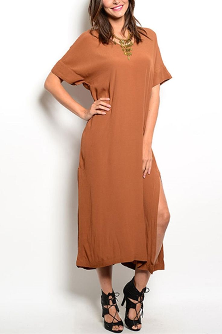This dress has special powers. WARNING: It may make you feel like you rule the world. Basic Copper Dress  by Shop The Trends . Clothing - Dresses - Casual Clothing - Dresses - Midi Indiana