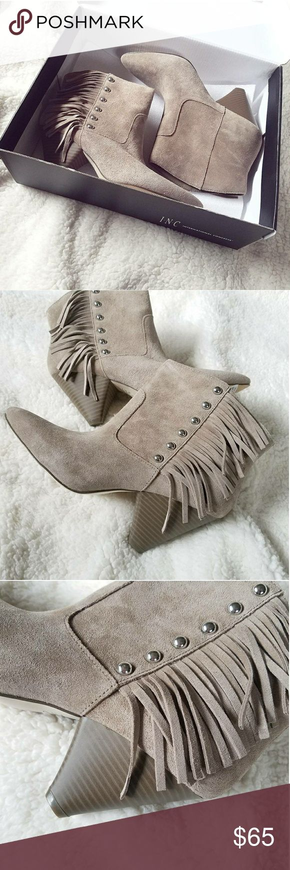 NWB | INC Fringe Booties Brand new in the box! INC Pallavi Taupe Western Booties Genuine leather upper Size 7.5 Taupe suede/fringe Silver decorative studs Cone heel Retail Value: $129.50  Make an offer! INC International Concepts Shoes Ankle Boots & Booties