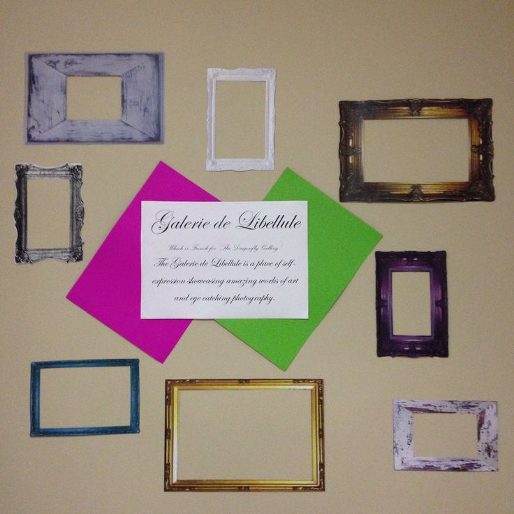 A place for photos and art works. Simply print a random mix of frames give your gallery a name.