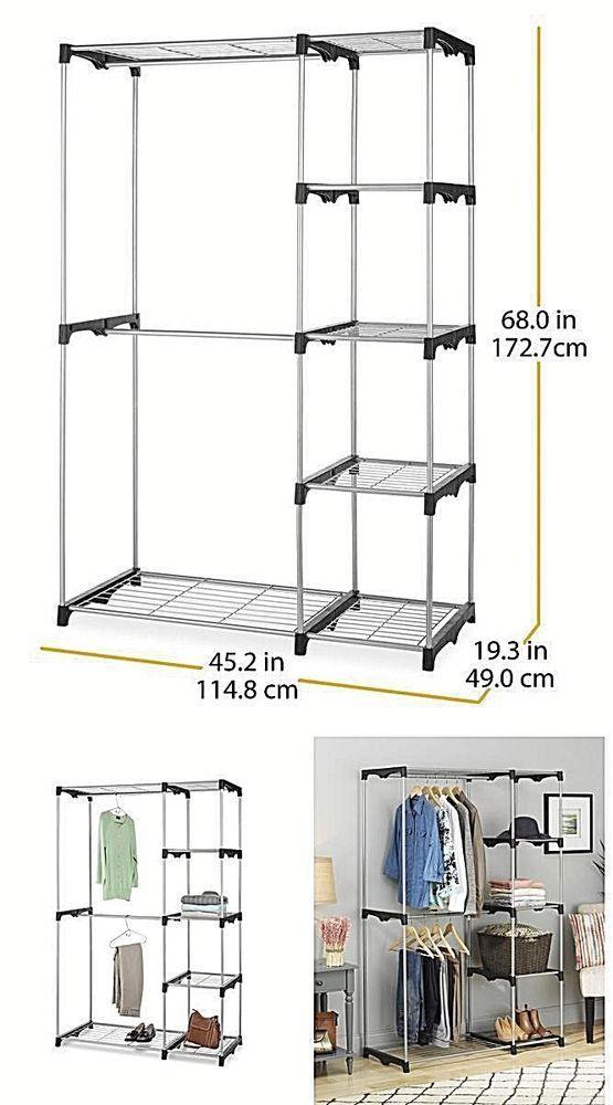 Portable Organizer Storage Rack Double Rod Freestanding Closet Silver New