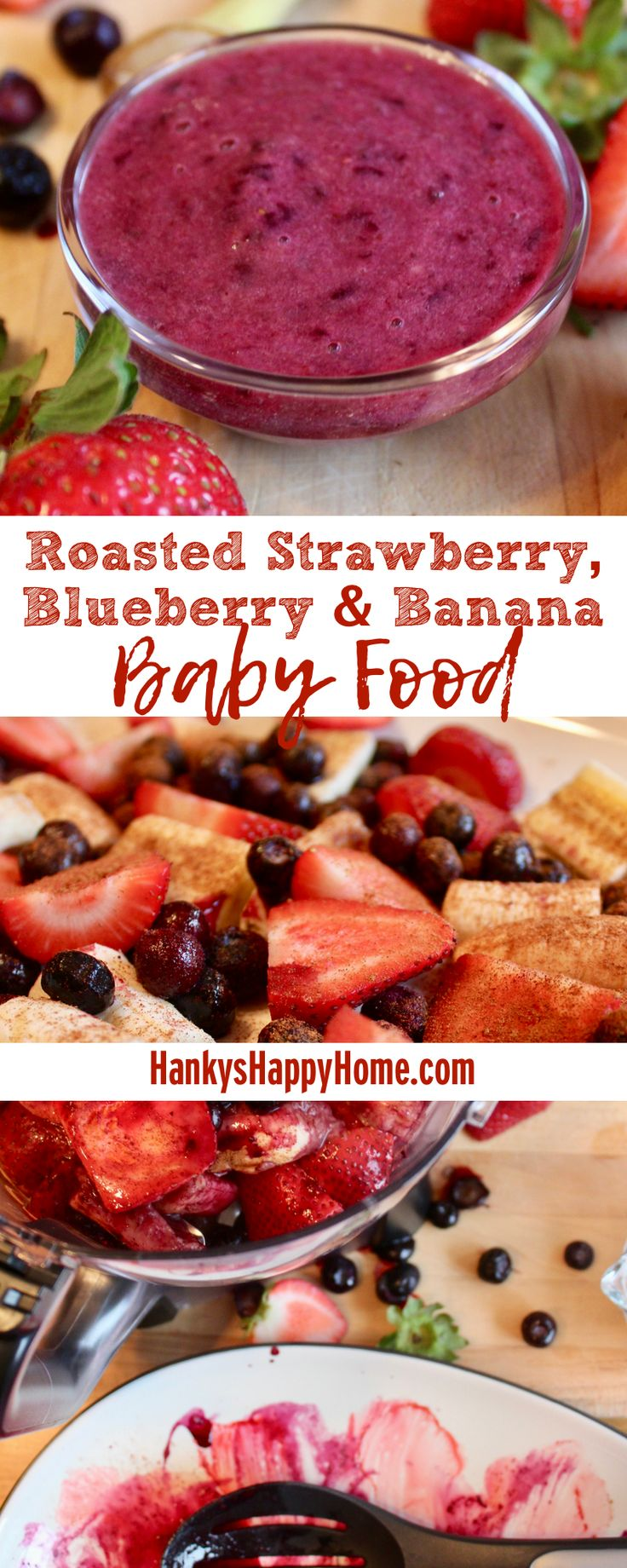 This Roasted Strawberry, Blueberry & Banana baby food is a colorful and yummy addition to any meal. Plus, it's packed with Vitamin C to boost the immune system.